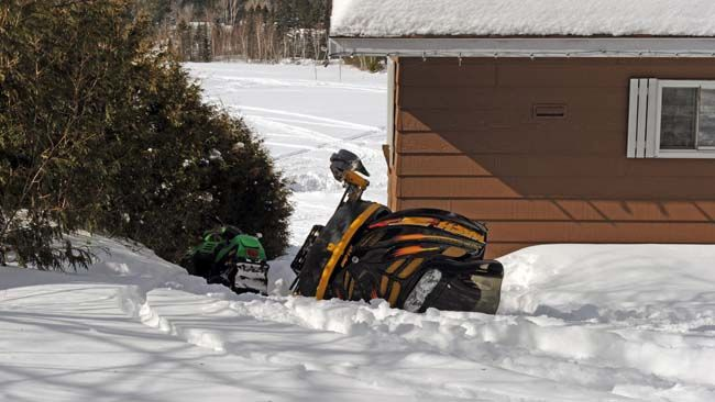 A boy was killed when he was struck by a snowmobile near Lantier, Que., Sunday, March 23, 2014. (MICHEL DESBIENS/QMI Agency)
