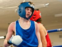Blue Ridge Boxing Club's Lane Nicholson heads back to his corner during his bout on Saturday, March 22. Bryan Passifiume Photo | QMI Agency