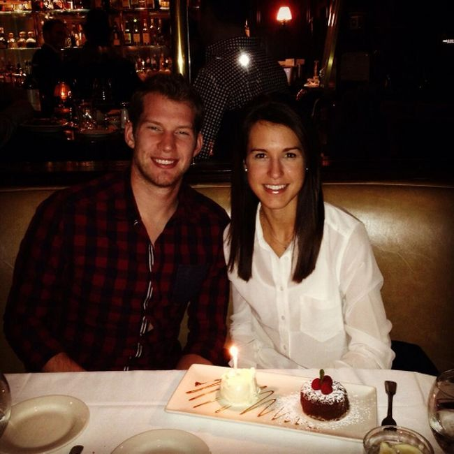 Maple Leafs goalie James Reimer and wife April Reimer. (@april_reimer Twitter photo)