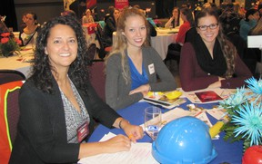 Denise Spadotto, a mechanical engineer with Union Gas, spoke about careers in engineering at the Junior Achievement World of Choices event to teens including UCC Grade 12 student Holly Patrick of Ursuline College and CKSS Grade 11 student Sophie Turner.