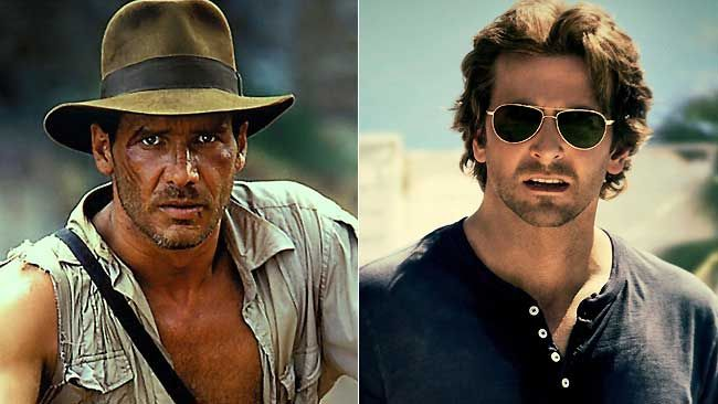 Harrison Ford as Indiana Jones (left) and Bradley Cooper.