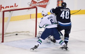 Devin Setoguchi won't be in the lineup for the Jets when the team takes on the San Jose Sharks Thursday night, due to a coach's decision. (Marianne Helm/Getty Images/AFP)