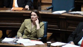 Health Minister Erin Selby listens during question period at the Manitoba Legislature on March 27, 2014. Selby sunk to new depths a day earlier while attempting to deflect hard questions during budget estimates. (TOM BRODBECK/WINNIPEG SUN PHOTO)