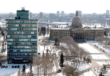 The view of the Alberta Legislature (right) and Legislature Annex building (left) from the top floor of the Federal Building, 9820 - 107 St., in Edmonton Alta., on Friday March 28, 2014. The building is still under renovation. The top floor would have be a private suite for the Premier had plans for the suite not been cancelled. David Bloom/Edmonton Sun/QMI Agency