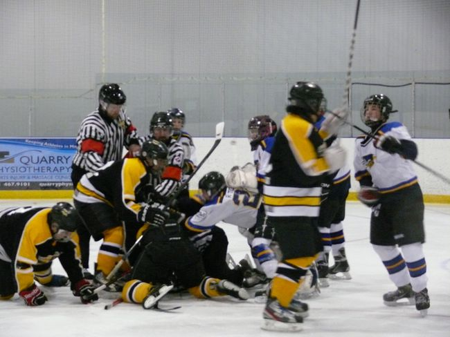 An Interlake bantam minor hockey playoff game in Stonewall got out of hand Sunday, March 30, between the Stonewall Blues and Lake Manitoba First Nation. A linesman was kicked and punched by players while he was laying on the ice while some spectators fought in the stands, said RCMP. (HANDOUT PHOTO)
