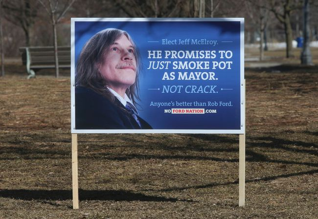 Six anti-Rob Ford re-election signs popped up in Trinity Bellwoods Park on Monday. (JACK BOLAND/Toronto Sun)