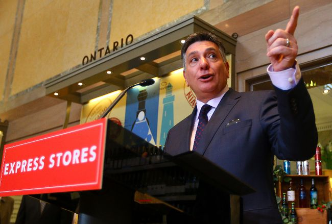 Minister of Finance Charles Sousa announces LCBO stores are coming to major grocery stores across Ontario at the LCBO Summerhill location in Toronto Tuesday April 1, 2014. (Dave Abel/Toronto Sun)