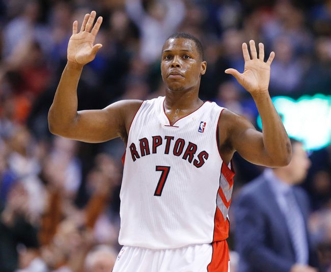 Kyle Lowry goes into the areas usually reserved for bigger players. (Craig Robertson/Toronto Sun)