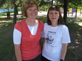 Anti-asbestos activists Stacy Cattran and Leah Nielsen, shown in this 2011 file photo, were honoured Wednesday by the Canadian Mesothelioma Foundation at a conference in Toronto. FILE PHOTO/ QMI AGENCY