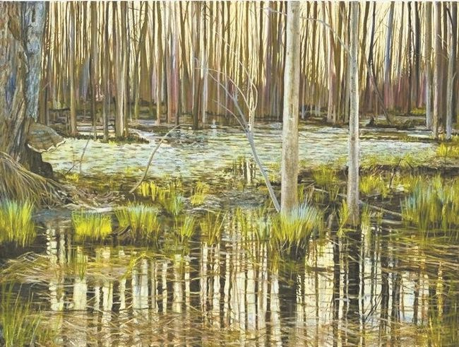 This painting, titled April Reflections by Cathy Groulx, is part of a new exhibition titled, Painting It Real, at Westland Gallery in Wortley Village till April 19.