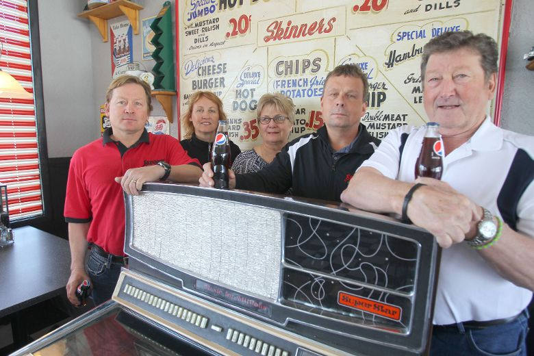 From the left; Lyle, Brenda, Louise, Brent, and Al Thompson. The Thompsons have owned the 85 year old Skinner's business for 35 years.  Jimmy Skinner, original owner's son, was the general manager of the NHL's Detroit Red wings in the 1950s. (Chris Procay