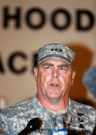Lt. Gen. Mark Milley addresses the media during a news conference at the entrance to Fort Hood Army Post in Texas April 2, 2014. A U.S. soldier shot dead three people and injured at least 16 on Wednesday before taking his own life at an Army base in Fort Hood, Texas, the site of another deadly rampage in 2009, U.S. officials said. The soldier, who was being treated for mental health problems, drove to two buildings on the base and opened fire before he was stopped by military police, in an incident that lasted between 15 and 20 minutes, Fort Hood commanding officer Milley said. REUTERS/Erich Schlegel