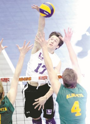 Western Mustangs volleyball player Garrett May helped lead Western to four straight Ontario university final appearances and three trips to the Canadian men?s university volleyball tournament. (Jim Wells/QMI Agency)