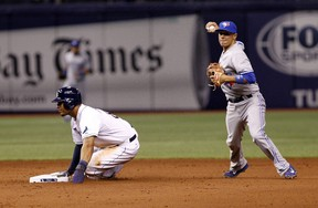 Shortstop Ryan Goins of the Toronto Blue Jays gets the out on Desmond Jennings of the Tampa Bay Rays at second base following Ben Zobrist's fielder's choice during the seventh inning of a game on April 3, 2014 at Tropicana Field. (Brian Blanco/Getty Images/AFP)