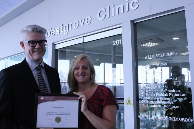 Dr. Keith McNicol, the chair of the Westview PCN and Melanie Saunders, the clinic manager for Meridian Medical, display their accreditation award that they were recently presented with. - Karen Haynes, Reporter/Examiner