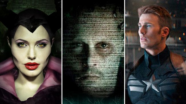 "From left to right: Angelina Jolie in ""Maleficent"", Johnny Depp in ""Transcendence"" and Chris Evans in ""Captain America: The Winter Soldier""."