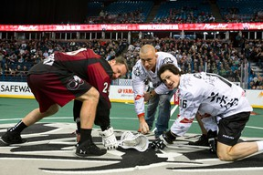 UFC fighter Georges St. Pierre drops the ceremonial first ball at an NLL lacrosse game between the Edmonton Rush and the Colorado Mammoth at Rexall Place in Edmonton, Alta., on Saturday, Jan. 11, 2014. Ian Kucerak/Edmonton Sun/QMI Agency