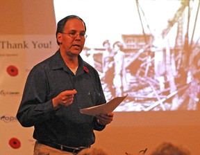 University of Western Ontario professor Jonathan Vance talks about the 'Maple Leaf Empire' in Great Britain during the two world wars during a 2011 talk in Tillsonburg.  (CHRIS ABBOTT/QMI AGENCY)