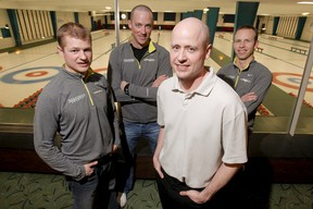 Carter Rycroft, Nolan Thiessen, Kevin Koe and Pat Simmons mug for a photo in 2012. (LYLE ASPINALL/QMI AGENCY)