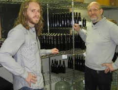 Jo Gevens, right, and son Mischa of New Limburg craft brewery in Nixon, Ontario. (File photo)