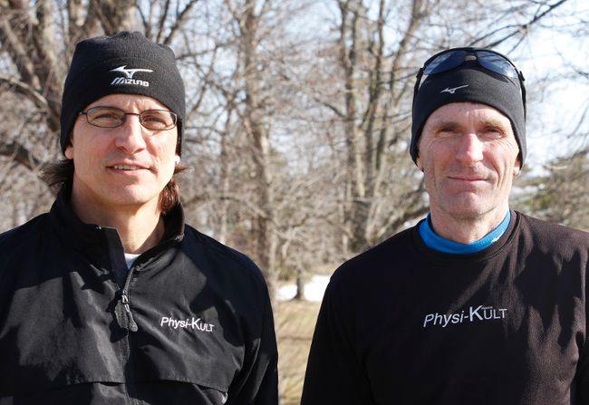 Clive Morgan, left, race co-director and Steve Boyd, race co-director and founder of Physi-Kult running group, led the winning bid for Kingston to host the Canadian Cross Country Championships from 2015 to 2018. (BRIANNE STE MARIE LACROIX/FOR THE WHIG-STANDARD)