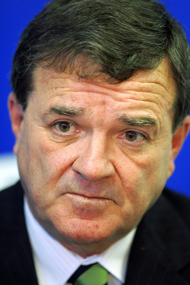 Finance Minister Jim Flaherty during a news conference in London, Ont. on Oct. 4, 2008. (Derek Ruttan/QMI Agency)