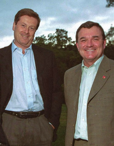 John Tory and Jim Flaherty pose in London, Ont. on Sept. 19, 2004. Dave Chidley/QMI Agency