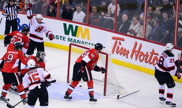 OTTAWA, Ont. (10/04/14) - Ottawa Senators play the New Jersey Devils on Thursday night's game. Devils' player Sens fans are disappointed when Michael Ryder scores on Ottawa in the second period. Sarah Taylor/Ottawa Sun/QMI Agency