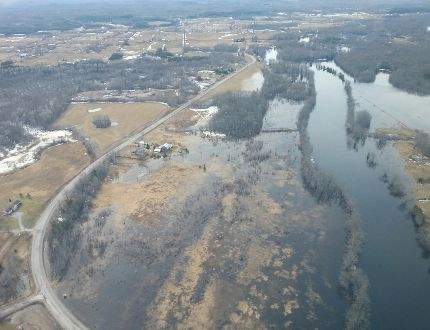 Aerial view of Stoco Lake area flooding on Friday, April 11, 2014. - Luke Hendry/The Intelligencer