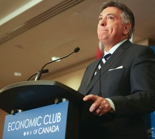 Ontario Finance Minister Charles Sousa address an Economic Club of Canada luncheon in Toronto on April 11, 2014. (Veronica Henri/Toronto Sun)