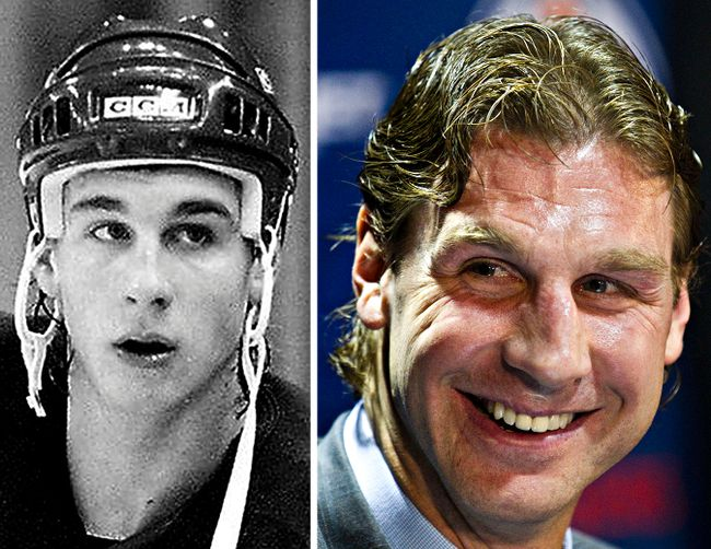 Edmonton Oilers Ryan Smyth in 1995 (left) and on Friday, April 11, 2014 during Smyth's retirement press conference. Edmonton Sun/QMI Agency