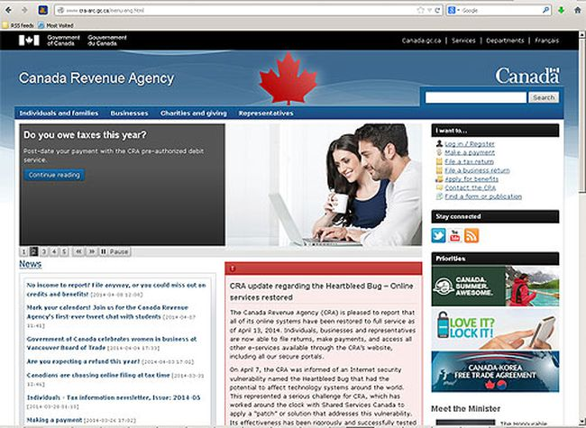 Canada Revenue Agency website. (SCREENSHOT)