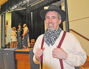Bob Smith, the original Curly McLain, makes his return as Andrew Carnes, in the theatrical production of Oklahoma! April 24, 25 & 26 at Mitchell District High School. The musical made its Mitchell debut 30 years ago in April 1984. KRISTINE JEAN/MITCHELL ADVOCATE