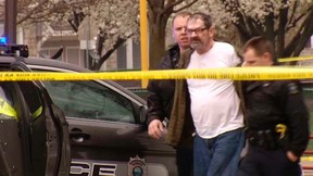 Frazier Glenn Cross, 73, of Aurora, Missouri, is led to a police car after his arrest following shooting incidents which killed three people at two Jewish centers on Sunday in Overland Park, south of Kansas City, Kansas in a still image from video April 13, 2014. Cross, also known as Frazier Glenn Miller, is expected to face federal hate crimes charges as well as state charges, authorities said on Monday. Video taken April 13, 2014.  REUTERS/KCTV5/Handout via Reuters