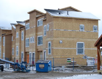 Houses under construction in the Southfork neighbourhood. Residential building permits in the first quarter of 2014 reached record levels, according to city administration.