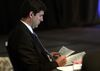 Mayor don Iveson checks his notes before speaking at the Zero 2014 conference at the Shaw Conference Centre in Edmonton, Alberta on Monday, April 16, 2014.Perry Mah/ Edmonton Sun