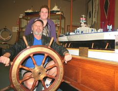 Dave Finley and daughter Teresa spent about 600 hours building this model of the Q105, a Second World War vessel built in Sarnia, which will now be on display at the Sombra Museum. HEATHER BROUWER/ SARNIA THIS WEEK/ QMI AGENCY