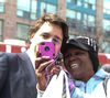 Justin Trudeau gets his picture taken with an unknown person at the State Funeral for Jim Flaherty that took place at  St. James Cathedral on Wednesday, April 16, 2014 in Toronto. (Veronica Henri/QMI Agency)