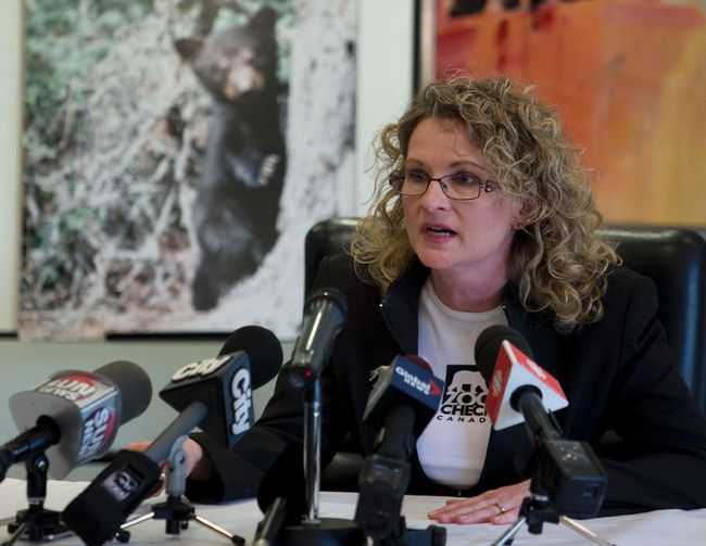 Julie of Zoocheck Canada talks about a planned legal challenge to the re-opening of the spring bear hunt in Ontario planned for May 1. (Jack Boland/Toronto Sun)