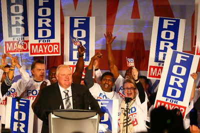 Mayor Rob Ford speaks during his campaign kick off at the Toronto Congress Centre on April 17, 2014. (Dave Abel/Toronto Sun)