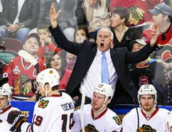 Chicago Blackhawks head coach Joel Quenneville apologized for his rude gesture toward the referees Thursday night in Game 1 of his team's Eastern Conference quarterfinal series against the St. Louis Blues. (USA Today file photo)