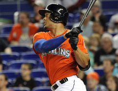 Giancarlo Stanton has been going after all of those out-of-the-strike-zone pitches more often this season and making the opposing hurlers pay. (USA Today Sports photo)