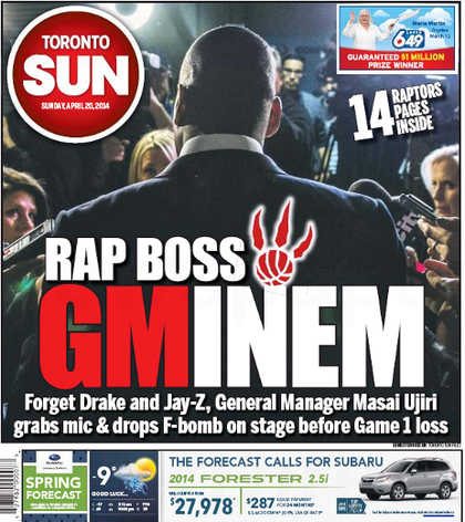 Toronto Sun front page Sunday, April 20, 2014.
