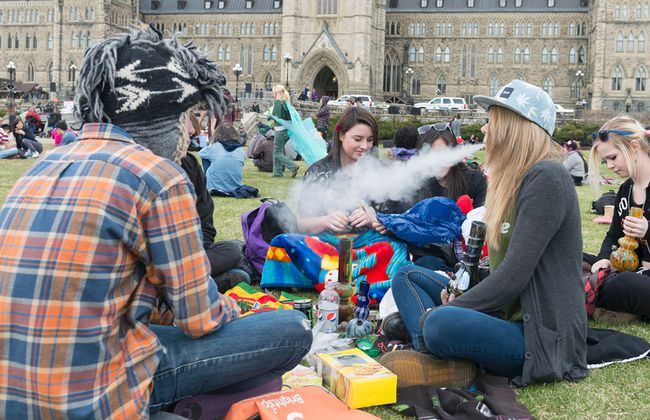 Friends Abby, Devin, Corey and Adrianna attend the 420 protest at Parliament Hill in Ottawa on April 20, 2014. (Sarah Taylor/QMI Agency)