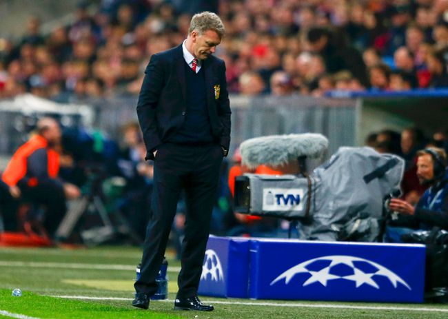 Manchester United's manager David Moyes reacts after their Champions League quarter-final second leg soccer match against Bayern Munich in Munich, April 9, 2014. (REUTERS/Michael Dalder)