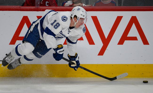 Tampa Bay's Ondrej Palat gets airborne during his team's playoff series against the Montreal Canadiens at the Bell Centre. (MARTIN CHEVALIER/QMI Agency)