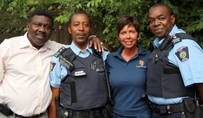Lisa-Joan Overholt, the TCHC's senior director, community safety unit and council liaison, with special constables. (Supplied photo)