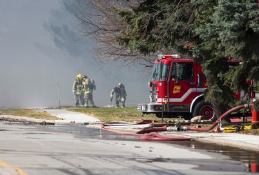 Industrial fire near Airport Rd and Steeles Ave East in Mississauga, Ont. on Wednesday April 23, 2014. Ernest Doroszuk/Toronto Sun/QMI Agency