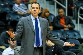 Indiana Pacers head coach Frank Vogel reacts to a call in the first half against the Indiana Pacers at Philips Arena on Oct 22, 2013 in Atlanta, GA, USA. (Daniel Shirey/USA TODAY Sports)