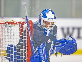 The Admirals will try to get a lot of bodies in front of Marlies goalie Drew MacIntyre. (ERNEST DOROZSUK/Toronto Sun)